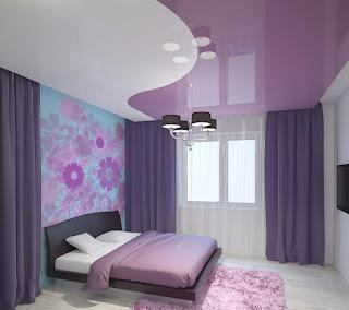 Фиолетовый сиреневый глянцевый натяжной потолок фото - Курганинск