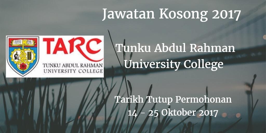 Jawatan Kosong TARUC 14 - 25 Oktober 2017