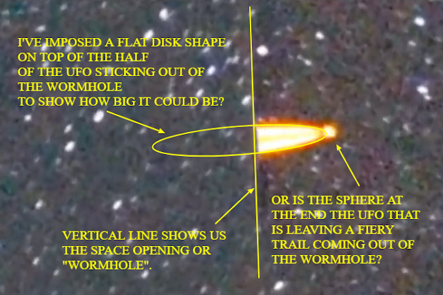 Here I've shown you what I am seeing in this image taken from the wormhole UFO video.