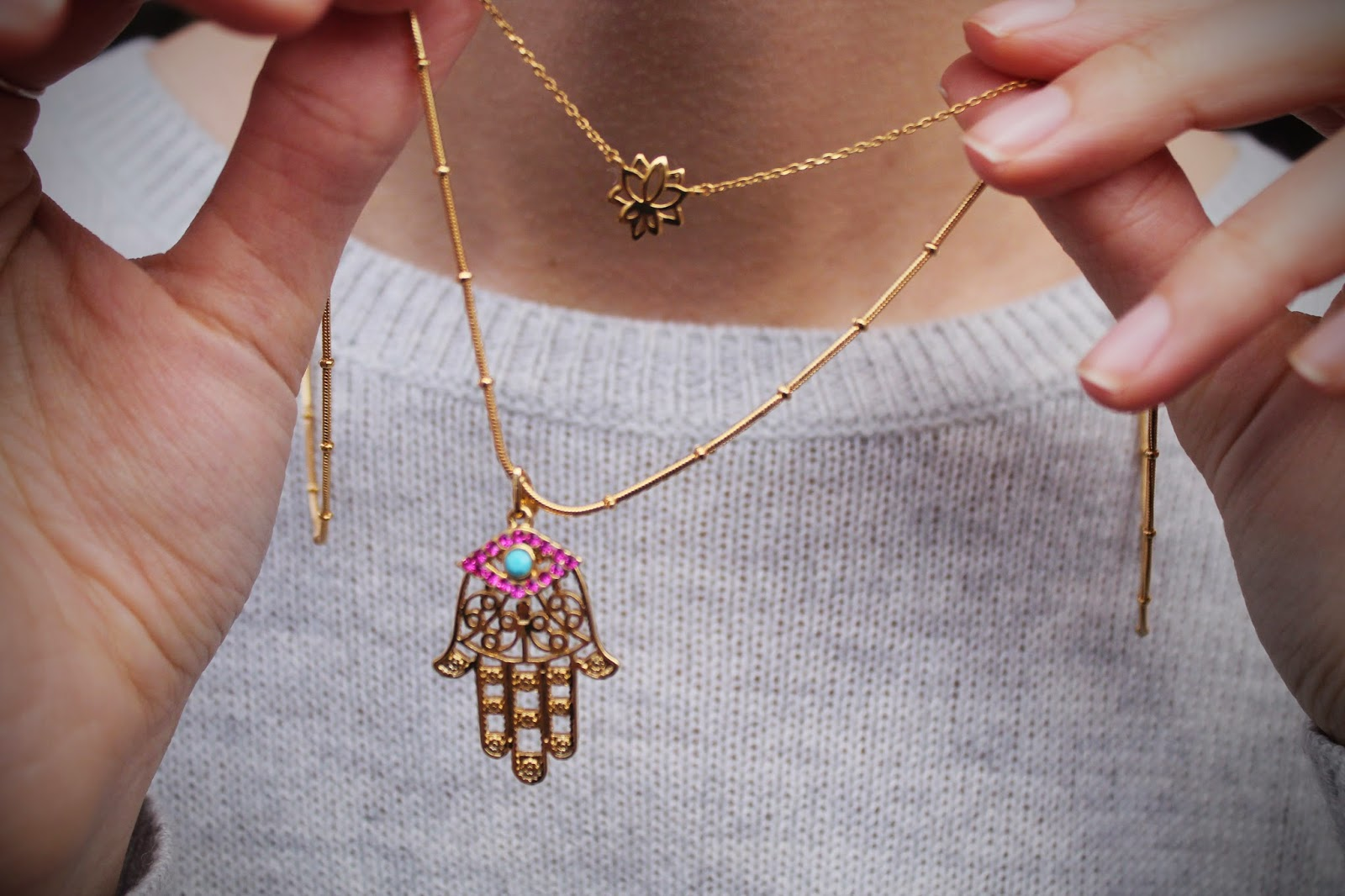 z for accessorize, zara simon, jewllery, dainty, stacking, layering, evil eye, hamsa hand, lotus flower