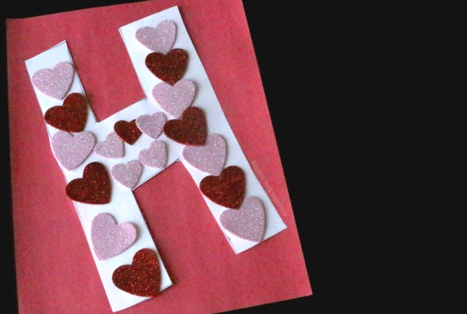 letter h craft - h is for hearts