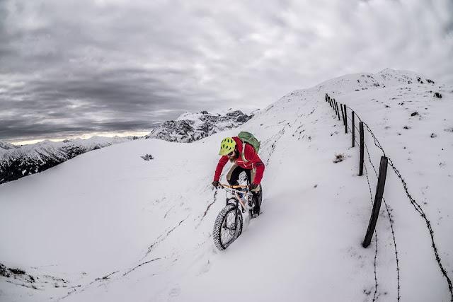 Biken im Schnee Wipptal Trunajoch