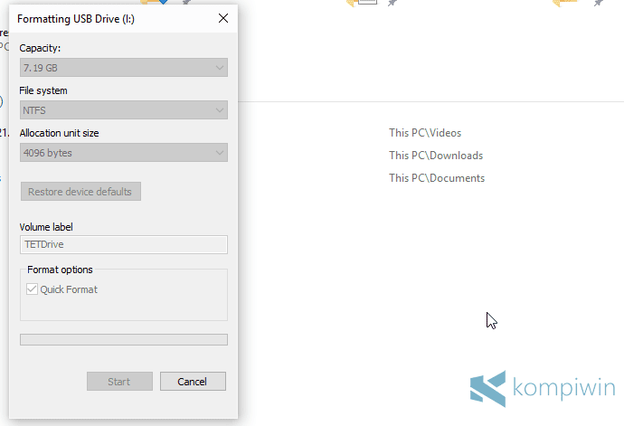 proses format flashdisk