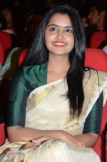 Actress Anupama Parameshwaran Pictures in Saree at A Aa Music Launch 0026
