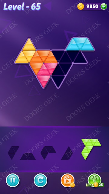Block! Triangle Puzzle 5 Mania Level 65 Solution, Cheats, Walkthrough for Android, iPhone, iPad and iPod