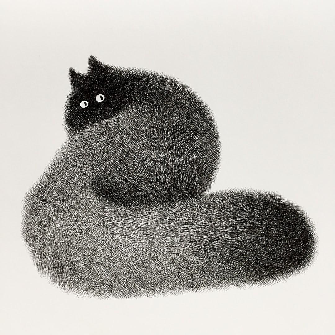 07-Kitty-No-21-Kamwei-Fong-14-Furry-Cats-and-1-Furry-Monkey-Drawings-www-designstack-co