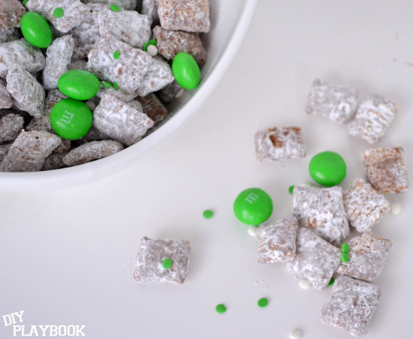 puppy chow recipe with M&Ms for St. Patrick's Day