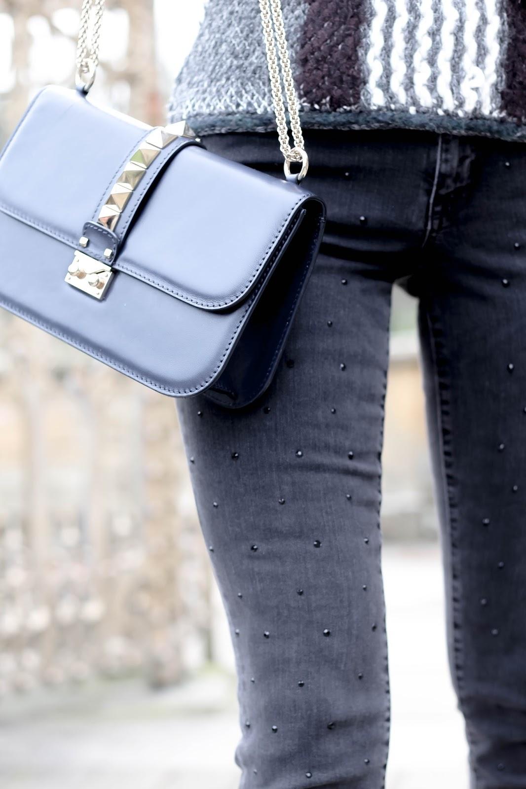 Grey denim jeans embellished studded black diamante