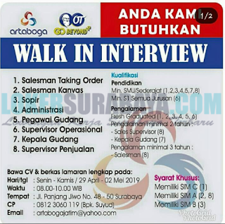 Walk In Interview di Artaboga Jawa Timur Terbaru April 2019