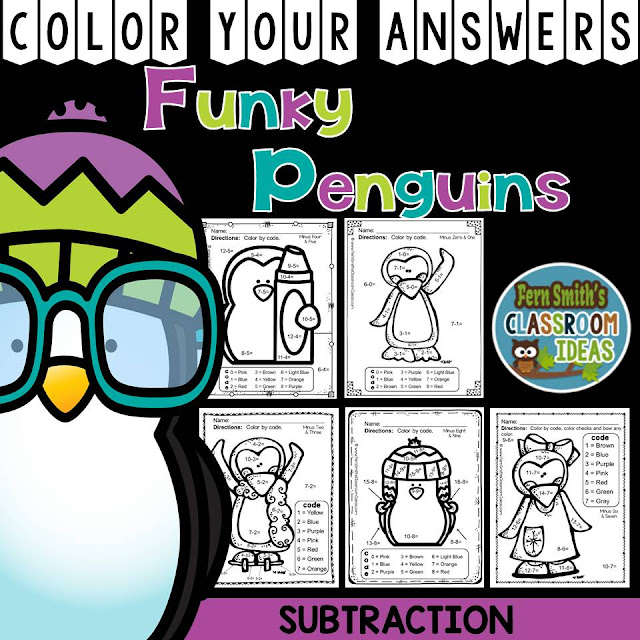 Fern Smith's Classroom Ideas - Winter Math: Winter Fun! Funky Penguins Subtraction Facts - Color Your Answers Printables for Winter Subtraction at TeacherspayTeachers, TpT.