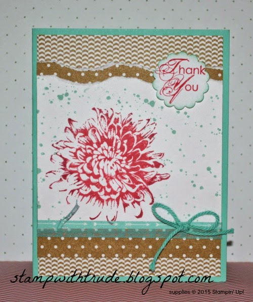 Thank You card, stampwithtrude.blogspot.com , Stampin' Up!, Trude Thoman, Blooming with Kindness, 2013-2015 In Colors, Gorgeous Grunge
