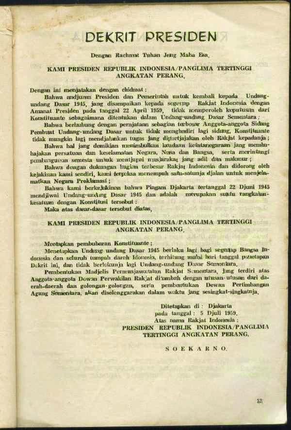Isi Dekrit Presiden 5 Juli 1959 : dekrit, presiden, Dekrit, Presiden, Rangkuman, Lengkap, Dunia, Belajar