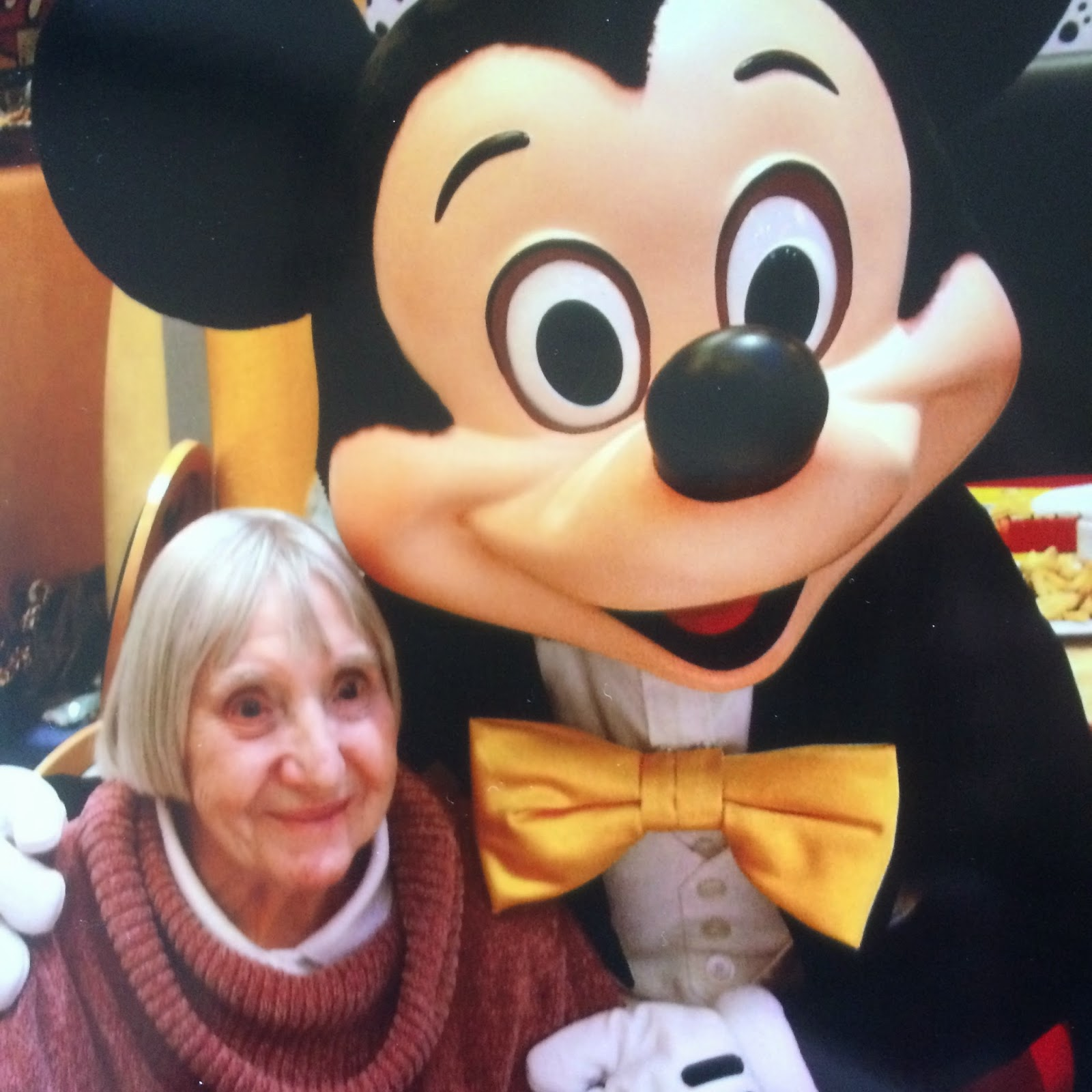 Granny with Mickey Mouse at DisneyLand Paris