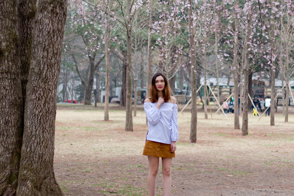 namiseom, korean fashion, cherry blossoms, suede skirt, 70's fashion, 90's fashion, off the shoulder top, sashion