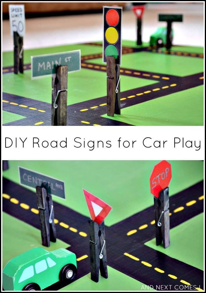 DIY road signs for car play that are interchangeable and great for fine motor development from And Next Comes L