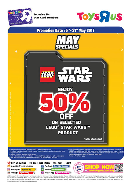 Toys R Us Malaysia LEGO Star Wars Products May Special Discount Promo