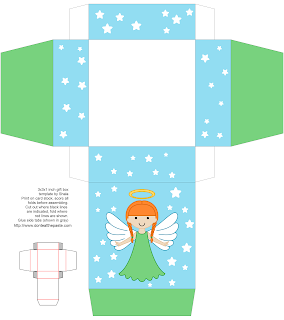 Printable angel gift box- more hair styles and colors available