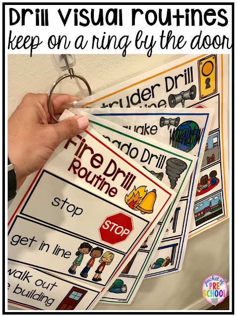 Visuals and supports to make emergency drills less stressful and scary for kids in your preschool, pre-k, and kindergarten classrooms.