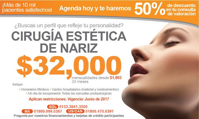nariz perfil cirugia estetica de nariz rinoplastia rinoseptoplastia guadalajara, costo precio paquete cirugia nasal