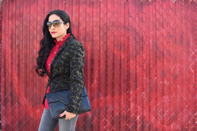 H&M Green and Black animal print blazer Tom Ford Sunglasses Talbots Red Ruffle Collar Blouse Gray Paige Skinny Jeans Denim in Silvie  Black stiletto boots Donald J. Pliner vintage black clutch