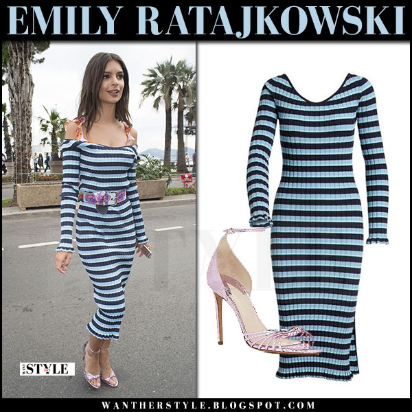 Emily Ratajkowski in blue striped off shoulder dress altuzarra what she wore may 18 2017 cannes summer style