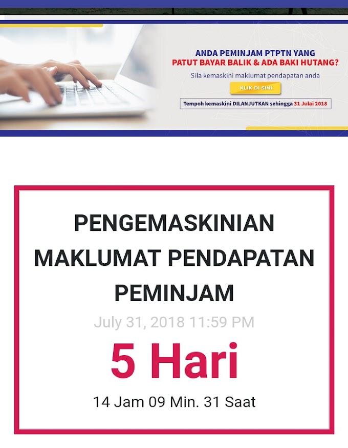 Penting! Tarikh pengemaskinian maklumat pendapatan PTPTN dilanjutkan