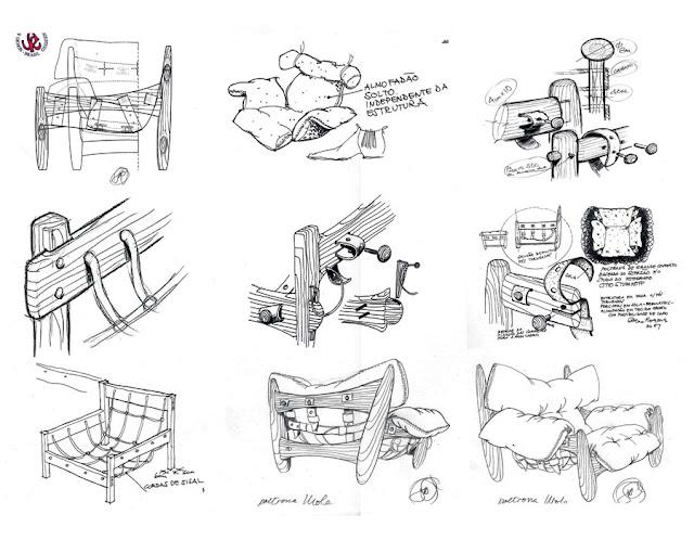 Vários rascunhos da estrutura da cadeira Mole