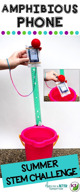 Summer STEM Challenge: In Amphibious Phone, students will make a summer-proof smartphone case that makes the phone waterproof and retrievable when dropped into a lake or pool (or bucket, as the case may be)! Includes modifications for grades 2-8.