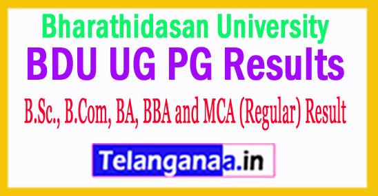 Bharathidasan University Exam Result 2018 UG PG Results