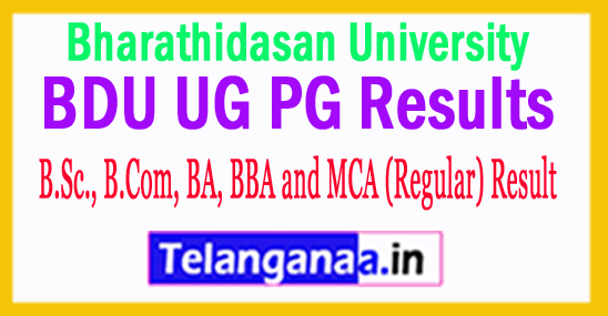 Bharathidasan University Exam Result  UG PG Results