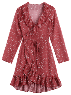 Star Print Ruffle Hem Wrap Dress - Dark Red M