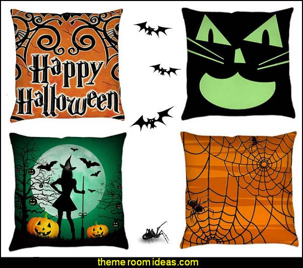 Halloween  pillows  Halloween decorations - Halloween decorating props - Halloween theme - Halloween decorating ideas - Halloween decor - wall murals halloween haunted mansion - lifesize standing halloween figures - halloween bedding -