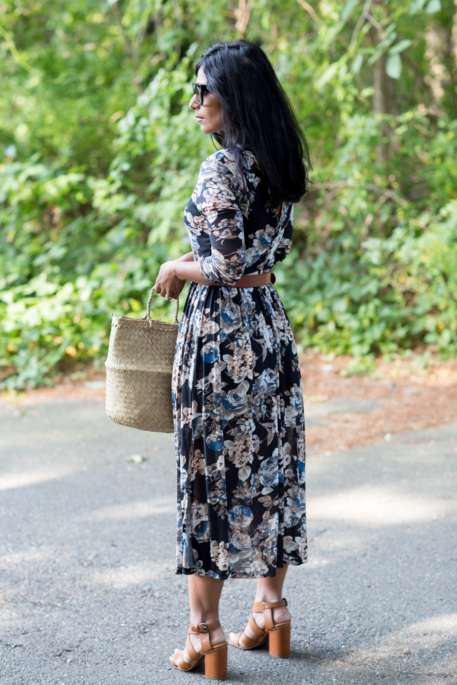 floral print, floral dress, fall style trends, basket bag, alexander mcqueen, nordstrom rack, affordable style, petite fashion, petite blogger, boston stylist, midi dress