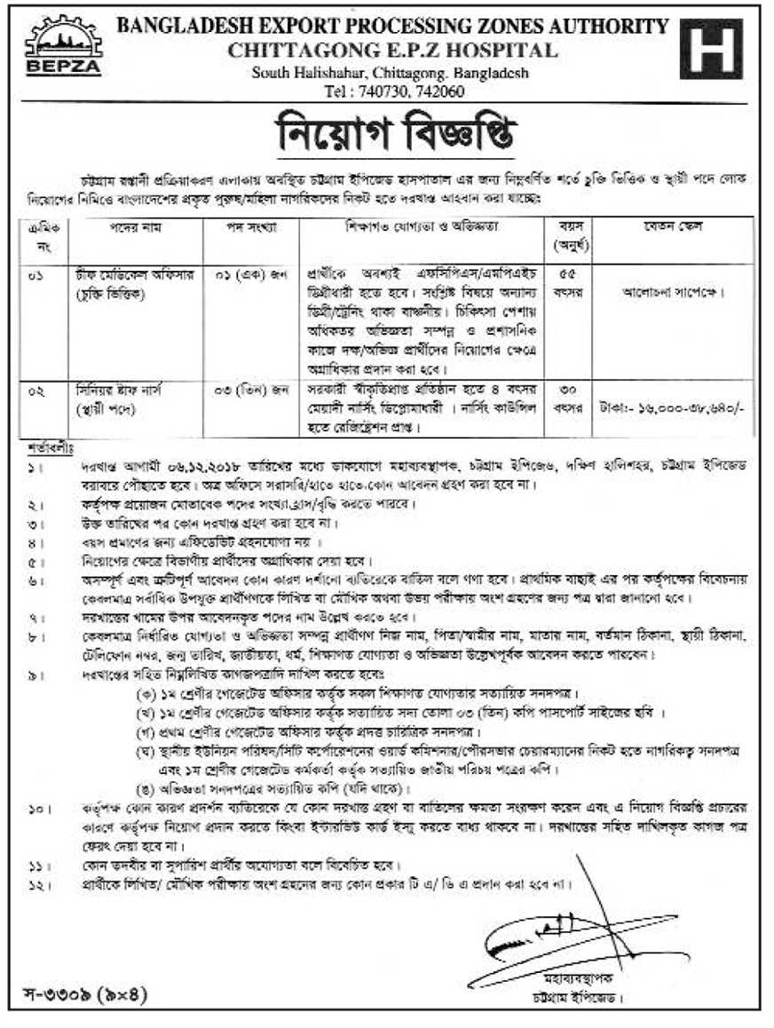 Chittagong EPZ Medical Trustee Board Job Circular 2018 | www bepza