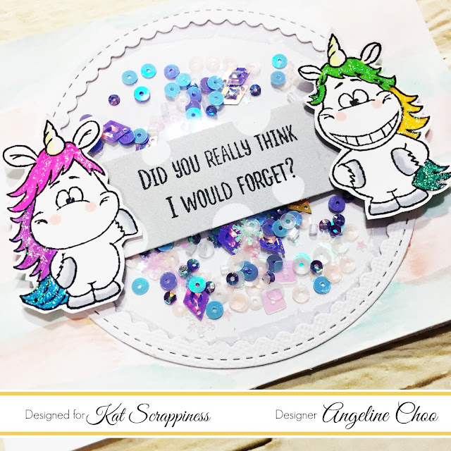 ScrappyScrappy: Circle Shaker Card with Kat Scrappiness #scrappyscrappy #katscrappiness #gerdasteiner #ginamariedesigns #tonicstudio #copic #nuvoglitterdrop #nuvodrop #nuvocrystaldrop #glitter #moodyunicorns #unicorns #rainbow #shakercard #card #cardmaking #stamp #stamping #primamarketing #pasteldreams #watercolor #katscrappinesssequin #sequin