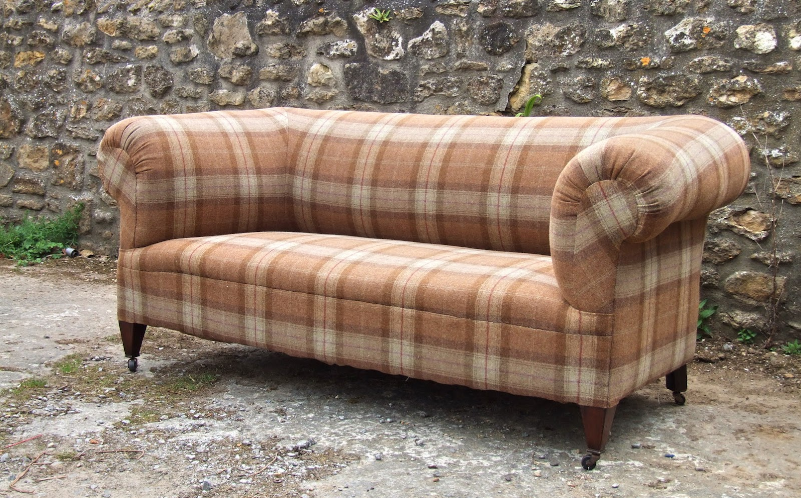tartan chesterfield sofa camping aldi the upholstress victorian antique