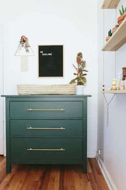 forest green furniture, olive green furniture, green accent colors, green dressers, nursery changing table ideas