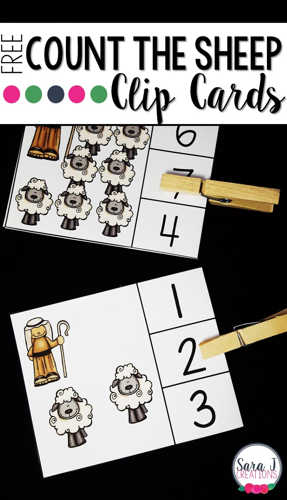 These free counting clip cards are great to help preschool and kindergarten students practice counting number 1-10.  Count the sheep, clip with a clothespin and flip to check your answer!  It is that easy!