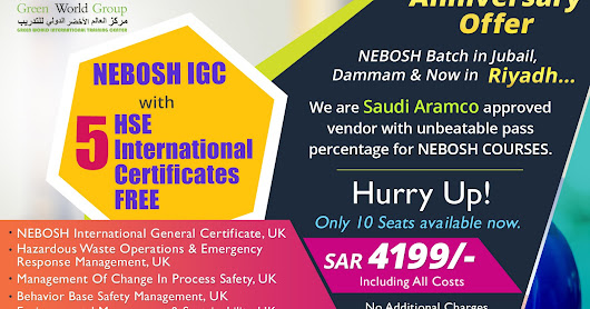Enroll Our Nebosh Course in Saudi Arabia Becomes a professional safety officer