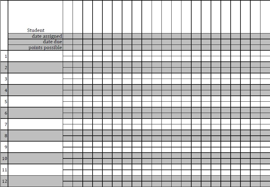 Ambitious image for printable gradebook template