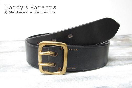 Ceinture en cuir noir Hardy & Parsons
