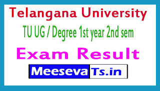 Telangana University TU UG / Degree 1st year 2nd sem Exam Results 2017