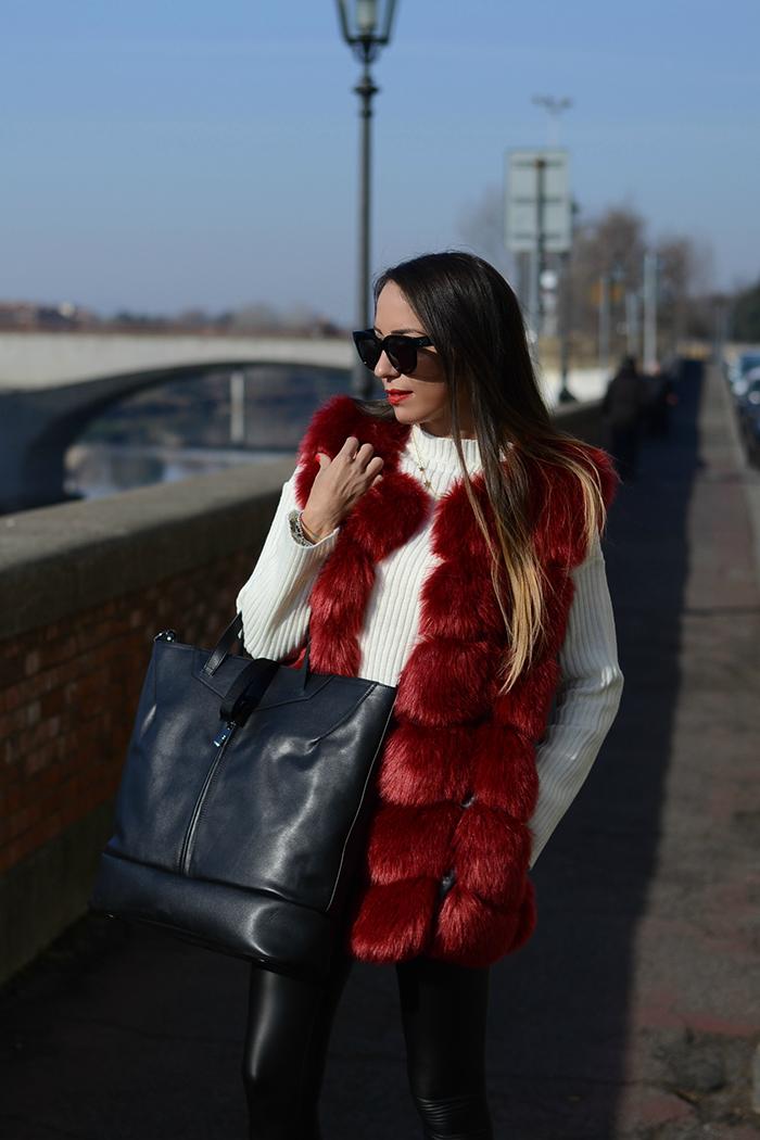 gilet pelliccia rosso