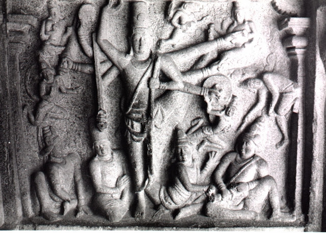 Ancient stone sculpture of Trivikrama and Vamana - Vishnu's 5th Avatar