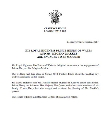 The Prince of Wales is delighted to announce the engagement of Prince Harry to Ms. Meghan Markle.
