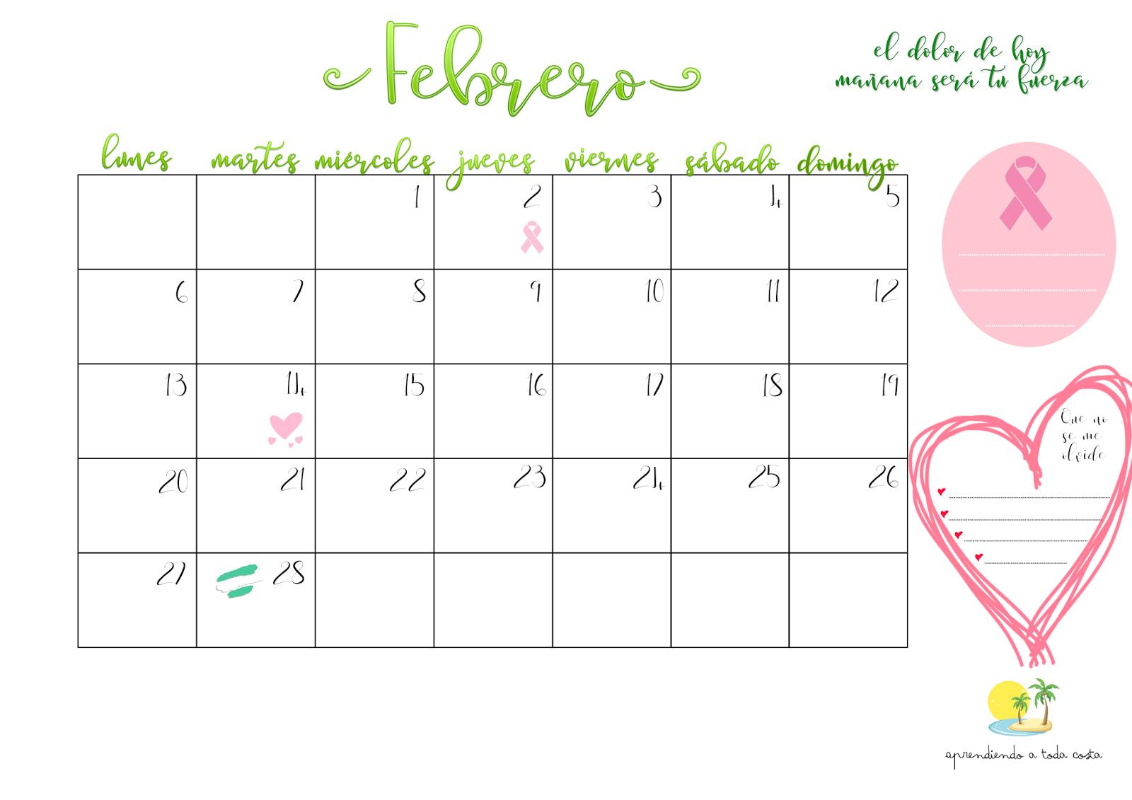 Calendario completo Febrero