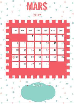 Calendrier 2017 gratuit à imprimer mois de mars