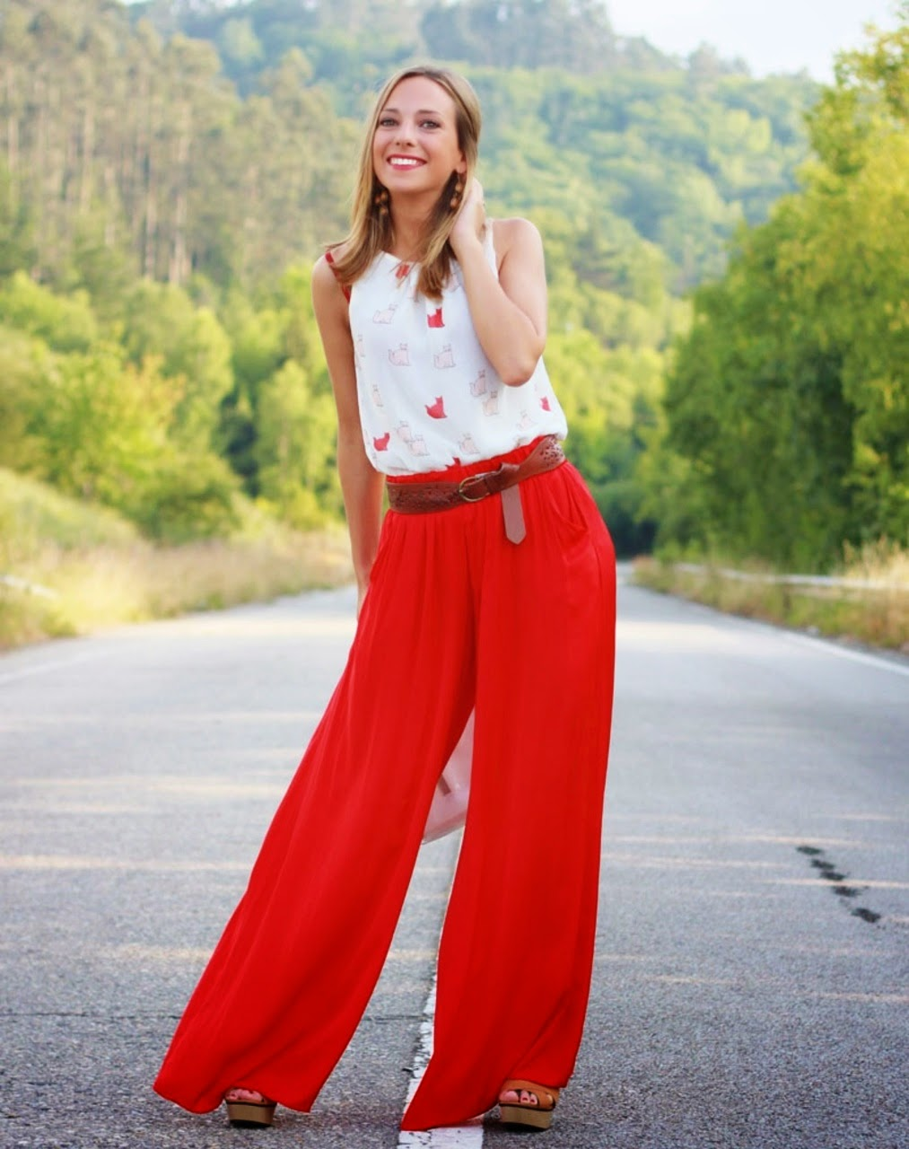 Wearing a Red Palazzo Trousers for Summer