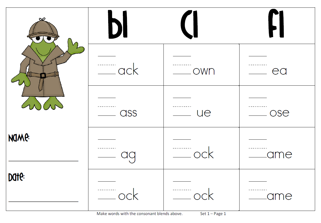 Consonant Blends Worksheets