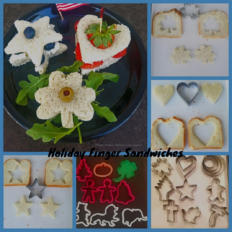 Finger sandwiches or tea sandwiches in cookie cutter shapes